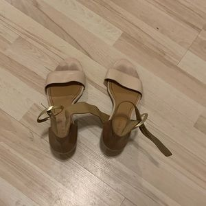 Cream and brown short wedge sandals